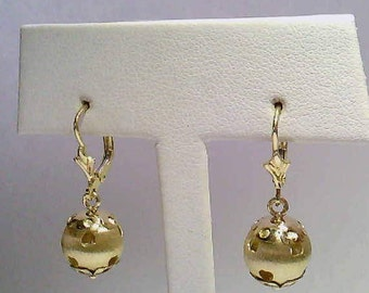 Vintage Estate 14K Yellow Gold Bead Dangle Earrings with Cutout Hearts