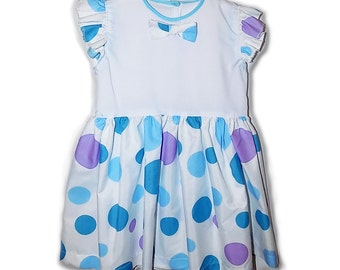 FINAL SALE White and light blue polka dot vintage dress with gathered skirt. Size 3T.  PN-014