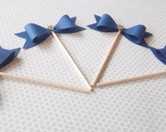 Navy Blue and Gold bow cupcake and dessert toppers | Wedding decorations | Shower Decorations | Birthday Party Decorations