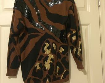 Vintage Leopard Print Sweater Tunic