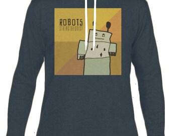 Men's Hooded Long-sleeved T-shirt Graphic (ROBOTS) - Stringtheorist Official Merchandise