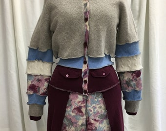 Gray and Pastel Baby Blue Eggplant Jacket L Katwise Inspired Upcycled Recycled Repurposed Natural Fiber Clothing Sweatercoat Fairy Pixie