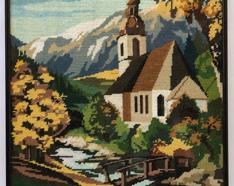 Church by the Mountains Cross-Stitch