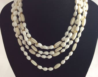 1950's White Glass Bead Five Strand Necklace with Large Oblong Clasp. Original Vintage Fifties 50's