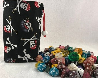 Pirate Dice Bag - Reversible Dice Bag - Reversible Dice Pouch - Made with Pirate - Skull and Cross Bones Fabric - Dice Bag - Skull Dice Bag