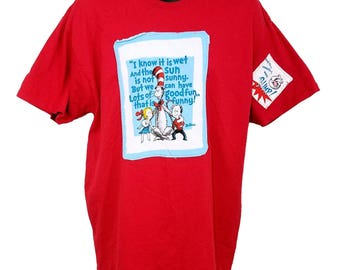 Cat In The Hat T Shirt Dr Seuss Hand Made Patches Red Mens Size XL