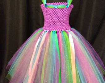 Rainbow multi-color princess tulle tutu dress, tulle tutu dress for girls, tulle tutu dress, birthday gift, gift for her, princess dress up