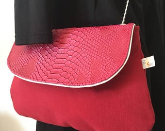Small bag feminine chic soft fabric & faux Python cherry red - pink with silver chain
