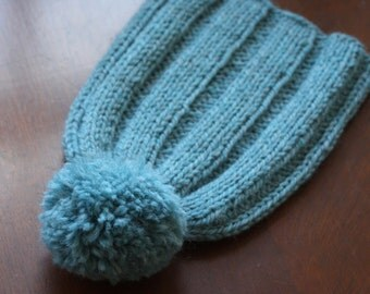 Handknit Hat, Robin's Egg Blue, Wide-Ribbed with Pompom