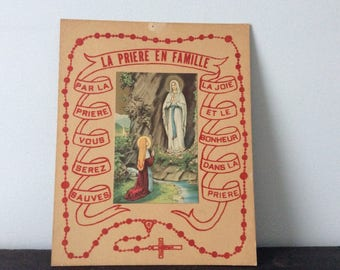 Antique 1900s French Religious Picture / Mary / Rosary /