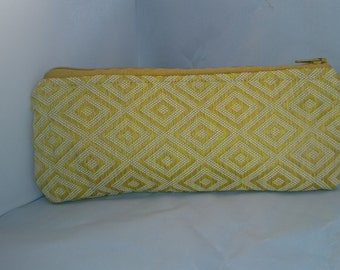 Cosmetic Pouch, Zippered, Yellow, Fabric
