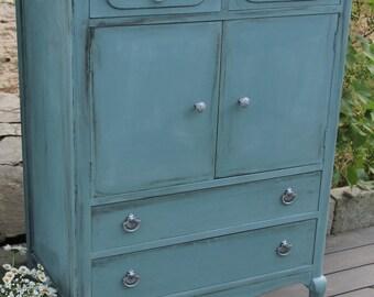 Antique Gentleman's dresser solid walnut in Annie Sloan's duck egg blue