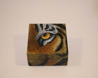 Tiger's Eye Trinket Box, Jewelry, Keepsake, Memory Box