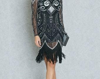 Sequin Fringe Black Dress