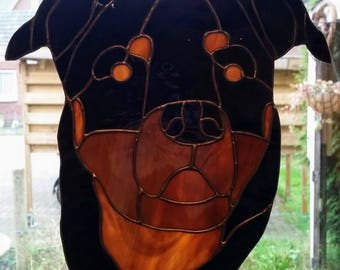 Stained glass Animal portrait, pet portrait in Tiffany of cat, dog Rottweiler,Bulldog,Labrador,Beagle,Jack Russel, Papillon, and many more