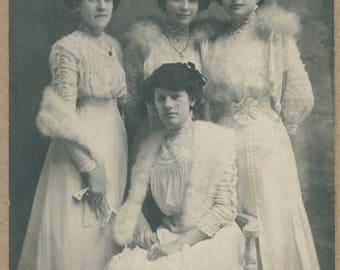 Edwardian Sisters | Historical Ladies Dress | French Studio Fashion Portrait | Antique Photo Postcard | WWI | 1910's | RPPC |