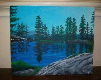 Lakeside - Original acrylic painting by Peter Pobjecky