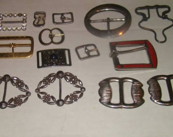 lot of 14 Vintage Metal Buckles