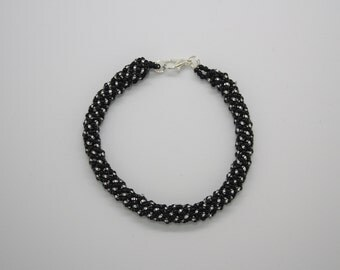 Black and silver seed bead bracelet