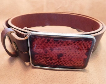 Red Snake Skin Buckle