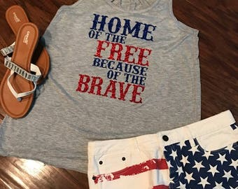 Bling Glitter Home of the Free Because of the Brave America JULY 4th USA Patriotic Racerback Tank Top Shirt ladies womens