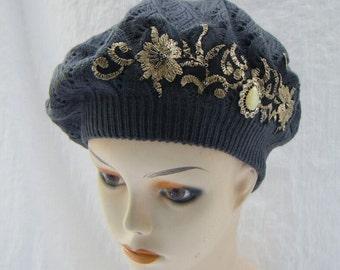 Beret, Woman Hat, Beret with applique, Classic beret, Embellished beret