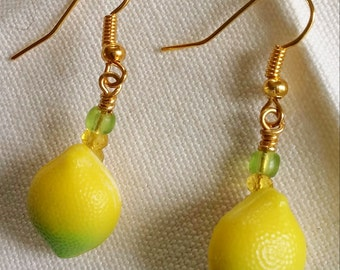 Upcycled Vintage Buttons:  Lemon Drop Earrings