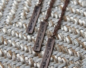 Feminist Hand-stamped Necklace on adjustable chain