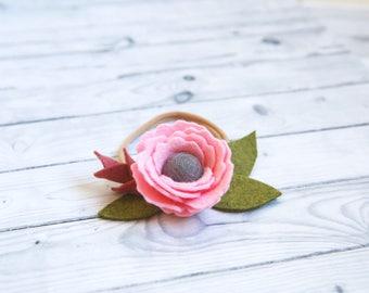 Pink felt flower, felt flower headband, Felt flower crown, flower girl headband, Toddler headband, Girl headband, photo prop, 1st birthday
