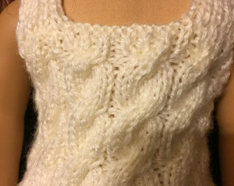 American girl doll knitted white vest