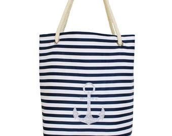 Bachbag, Shopper Bag, Anchor, Striped, Glitter