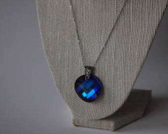 Bermuda Blue Swarovksi Necklace with Silver Bail