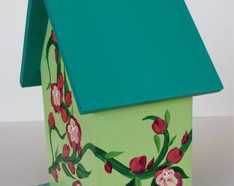 Birdhouse hand painted with Cherokee Roses