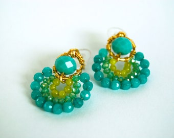 Turquoise Jade Earrings. Crystals. Gold Plated. Non Tarnish