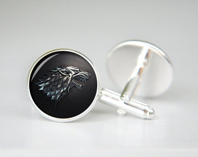 House Stark game of thrones personalized custom cufflinks, cool gifts for men, wedding silver cuff link, groom cufflinks