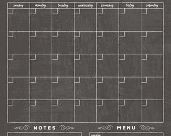 Chalkboard Calendar - Dry erase calendar - Framed calendar - magnetic calendar