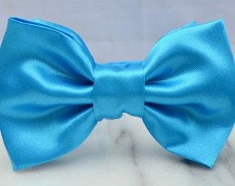 Diamond Blue Satin Pre-tied Adult Bow Tie