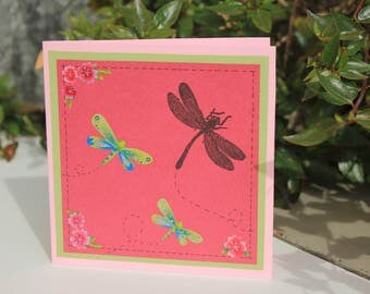 Card with dragonflies, Birthday Card, Funny Card, Cute Card, Greeting Card, Scrapbooking Card, Happy Birthday, Card with animals, Mini Card