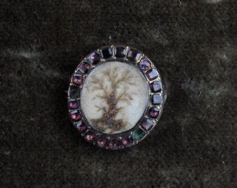 9k Georgian Tree of Life Hairwork Brooch with Flat Cut Garnet Surround