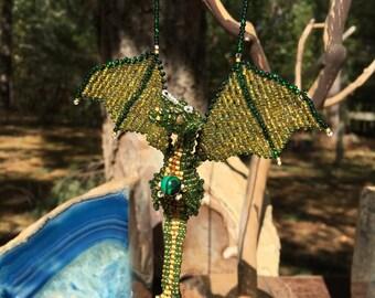 Green 3D beaded dragon