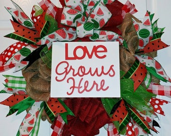 """Ready to Ship! 24"""" Watermelon """"Love Grows Here"""" Red Burlap, Green Deco Mesh, Natural Burlap, Black Ribbon, One of a Kind Wreath!!"""