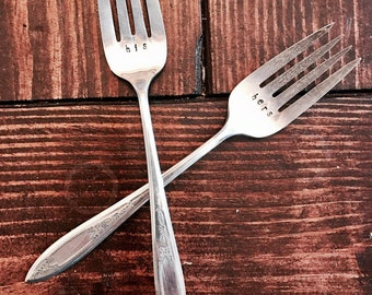 His and Hers stamped forks vintage silverware wedding gift
