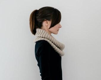 Rib Knit Cowl, Neck Warmer in Beige