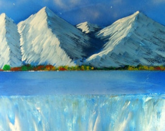 Spray Paint Art picture - Moutain with waterfall