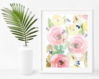 Shabby Chic Art Print, Flower Art, Watercolor Flowers, Floral Print, Floral Art, Instant Download, Printable Art ,Home Decor ,Wall Decor