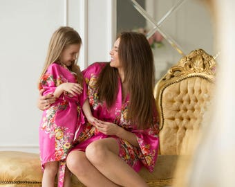 Mother Daughter Matching Robes, Mommy and Me Outfit, Spa Robe, Kids Robe, Mom & Daughter Floral Robes, , Matching Robes
