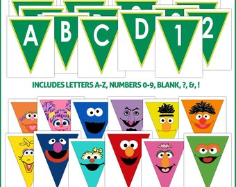 Sesame Street Party Banner Pennants Printable -- DIGITAL -- Includes 12 faces, A-Z, 0-9, &, !, ?, and blank.