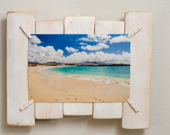 White wood frame, to furnish with style, made from recycled pine wood with shabby effect, 100% handmade, 22 x 15 cm photo