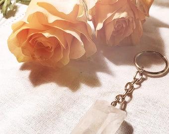 Druzy quartz crystal keychain, gift for her, boho keychain, quartz point, druzy quartz, keychain, handmade, quartz, mineral, hand made