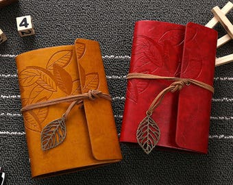 Vintage Notebook Diary String Leaf Travel Leather Paper Journal